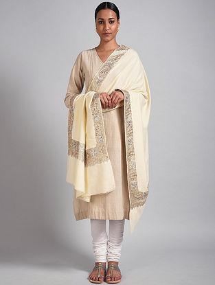 Ivory Tilla Embroidered Pashmina Shawl