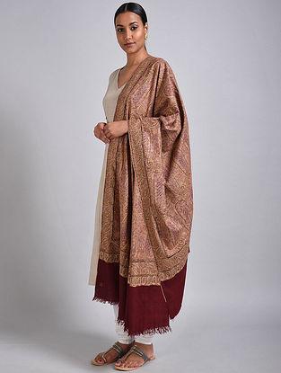 Maroon Sozni Embroidered Jamawar Pashmina Shawl
