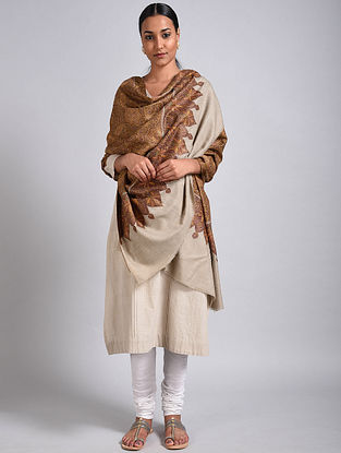 Beige-Brown Sozni Embroidered Jamawar Pashmina Shawl