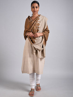 Beige Sozni Embroidered Jamawar Pashmina Shawl