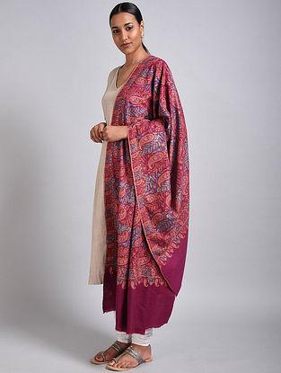 Pink Sozni Embroidered Jamawar Pashmina Shawl