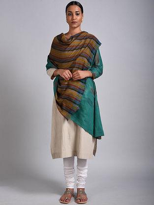 Mustard-Green Reversible Pashmina Shawl