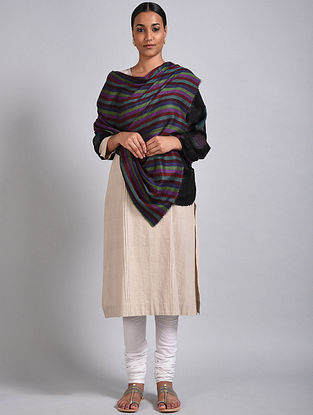 Black-Purple Reversible Pashmina Shawl