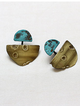 Turquoise Gold Brass and Copper Oxidised Stud Earrings