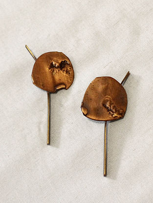Gold Brass and Copper Oxidised Stud Earrings