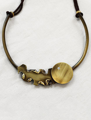 Gold Brass and Copper Choker Oxidised Necklace
