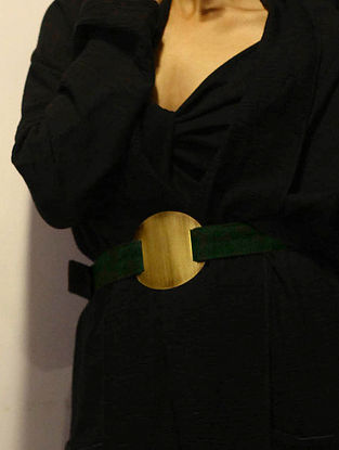 Bottle Green High Waist Burlap Belt with Oxidised Brass Disc