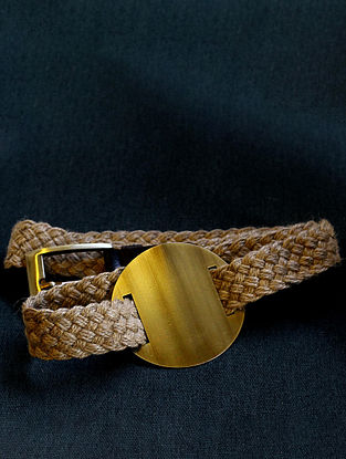 Brown High Waist Jute Belt with Oxidised Brass Disc