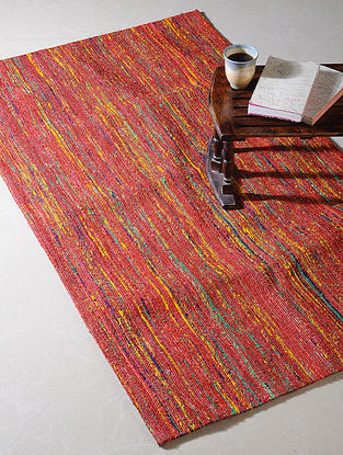 Red Handwoven Silk and Cotton Dhurrie (5ft x 3ft)