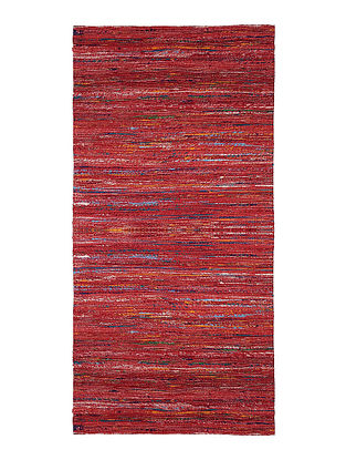 Red Handwoven Silk and Cotton Dhurrie