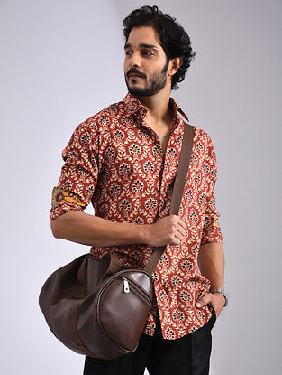 Madder-Multicolor Hand Block-printed Cotton Full Sleeve Shirt