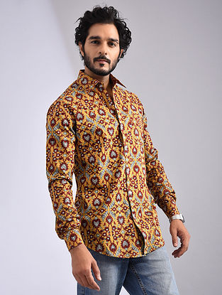 Yellow-Multicolor Hand Block-printed Cotton Full Sleeve Shirt