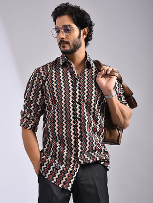 Black-Multicolor Hand Block-printed Cotton Full Sleeve Shirt