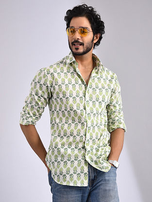 White and Green Hand Block-printed Cotton Full Sleeve Shirt