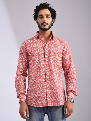 Pink-Multicolor Hand Block-printed Cotton Full Sleeve Shirt