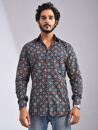 Blue-Multicolor Hand Block-printed Cotton Full Sleeve Shirt