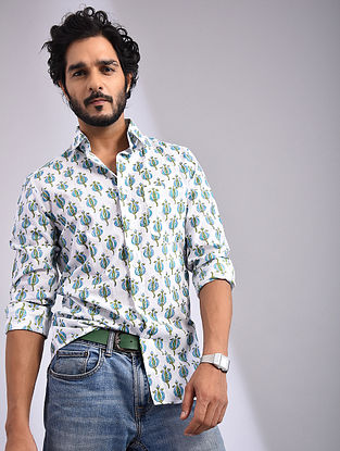 White-Multicolor Hand Block-printed Cotton Full Sleeve Shirt