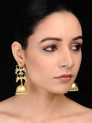 Classic Gold Tone Ornate and Kundan Inspired Brass Jhumkis