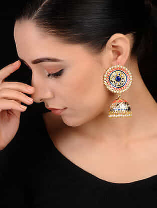 Orange-Blue Gold Tone Onyx and Pearl Beaded Brass Jhumkis
