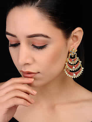 Red Gold Tone Meenakari Brass Earrings