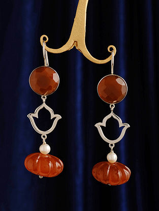 Silver Earrings with Carnelian, Agate and Pearl