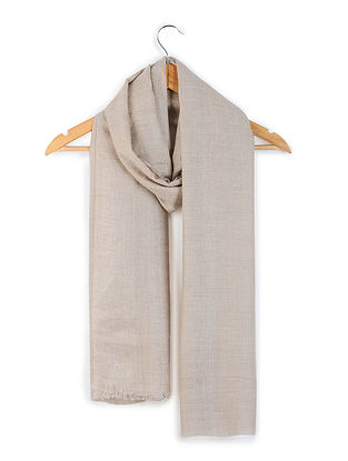 Taupe Organic Pashmina Stole with Diamond Weave