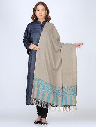 Beige-Blue Pashmina/Cashmere Kani Paldar Shawl