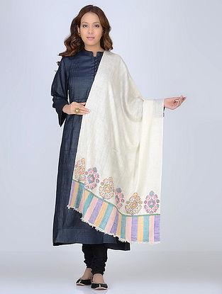 Ivory-Multicolored Pashmina/Cashmere Kani Paldar Stole