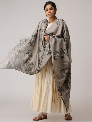 Beige-Black Kani Pashmina/Cashmere Shawl