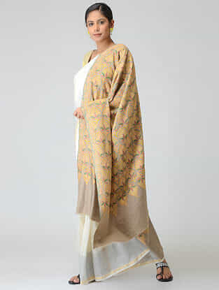 Taupe-Yellow Sozni-embroidered Pashmina Shawl