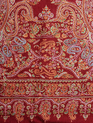 Red-Orange Sozni-embroidered Pashmina/Cashmere Shawl