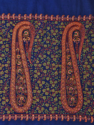 Blue-Red Sozni-embroidered Pashmina/Cashmere Shawl