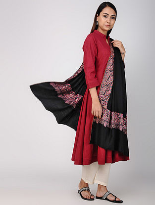Black-Pink Sozni-embroidered Pashmina/Cashmere Shawl
