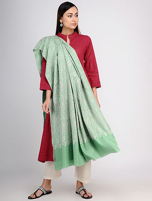 Green-Ivory Sozni-embroidered Pashmina/Cashmere Shawl