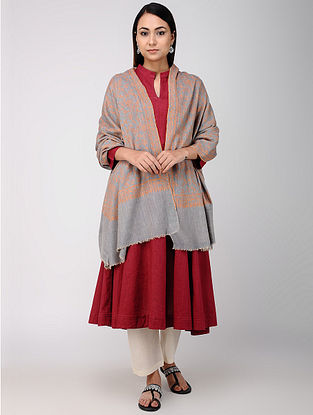 Grey-Orange Sozni-embroidered Pashmina/Cashmere Shawl