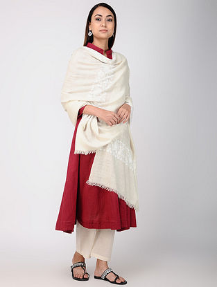 Ivory-White Sozni-embroidered Pashmina/Cashmere Shawl