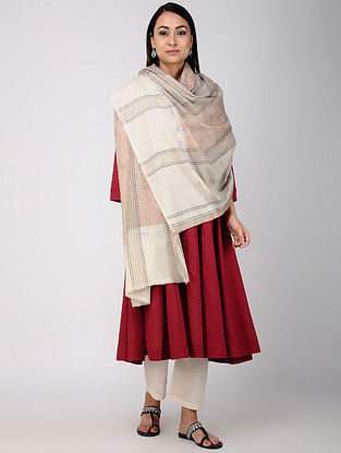 Grey-Ivory Sozni-embroidered Pashmina/Cashmere Shawl