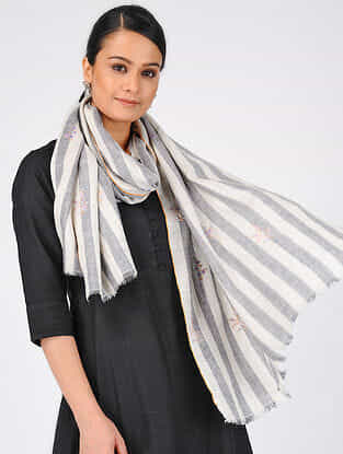 Grey-Ivory Sozni-embroidered Pashmina Cashmere Stole