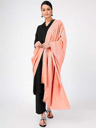 Peach-Green Sozni-embroidered Pashmina Cashmere Shawl