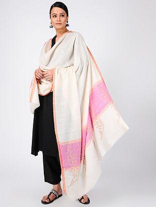 Ivory-Pink Sozni-embroidered Pashmina Cashmere Shawl