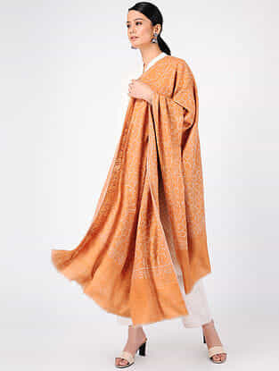 Orange Sozni-embroidered Pashmina Cashmere Shawl