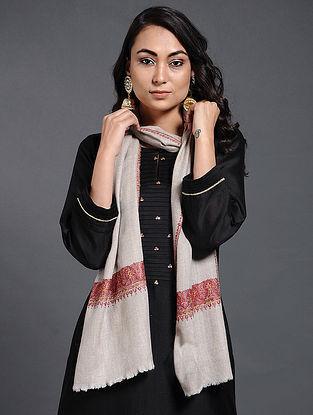 Ivory-Pink Sozni-embroidered Pashmina/Cashmere Muffler