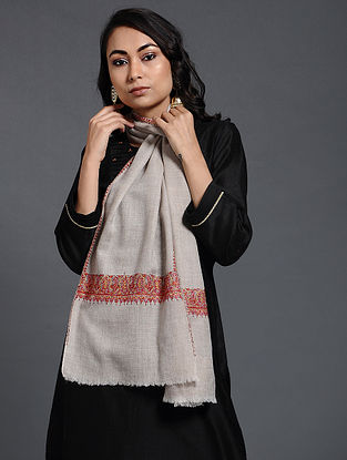 Ivory-Red Sozni-embroidered Pashmina/Cashmere Muffler