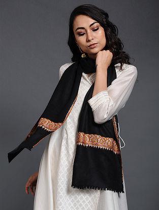 Black Sozni-embroidered Pashmina/Cashmere Muffler