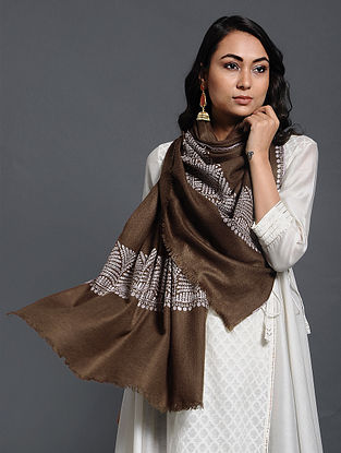 Brown-Ivory Sozni-embroidered Pashmina/Cashmere Muffler