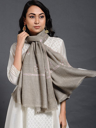 Grey Sozni-embroidered Pashmina/Cashmere Stole