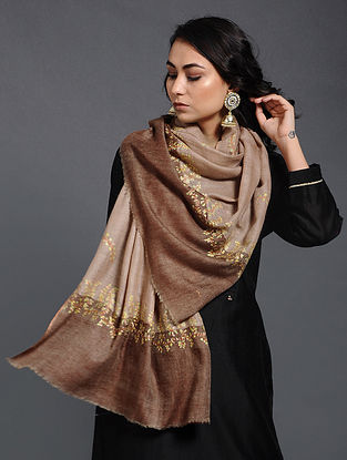 Brown Sozni-embroidered Pashmina/Cashmere Stole
