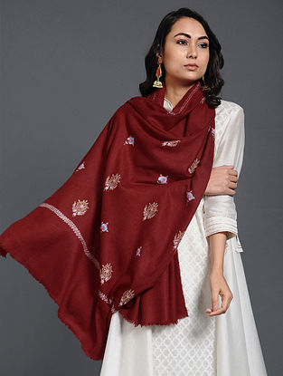 Red Sozni-embroidered Pashmina/Cashmere Stole
