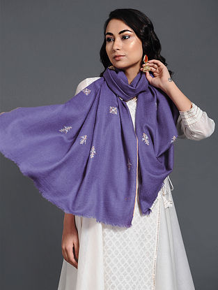 Purple Sozni-embroidered Pashmina/Cashmere Stole