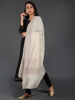 Ivory Sozni-embroidered Pashmina/Cashmere Shawl